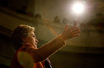 Democratic presidential hopeful Hillary Clinton speaks at the West Virginia State Capitol in Charleston, West Virginia, May 8, 2008.