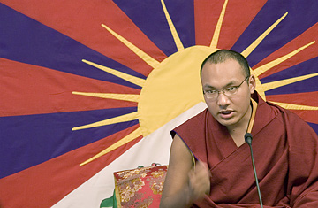 Ugen Trinley Dorjee, the Karmapa speaks to the crowd on eco tourism at the Tibetan Children's Village School in Dharmsala, India, Mon\day, March 24, 2008.