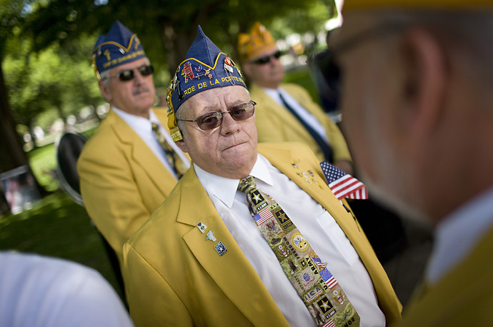 Veterans attend Memorial Day ceremony at Arlington National Cemetery in Arlington, Va.