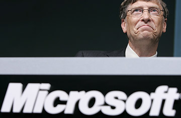 Microsoft Corp Chairman Bill Gates reacts during a news conference in Tokyo May 7, 2008.