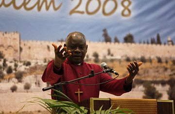 Archbishop Peter Akinola of Nigeria of the Anglican Communion speaks during the Global Anglican Future Conference (GAFCON) opening session in Jerusalem June 22, 2008.