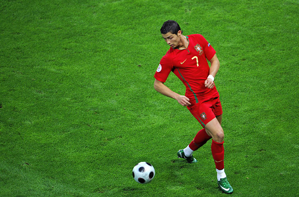 Portuguese superstar Cristiano Ronaldo controls the ball during his country's match against Turkey in Geneva, Switzerland