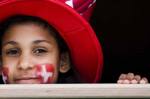 This young Swiss supporter seems oblivious to the fact the bookmakers make her team rank-outsiders to win the tournament