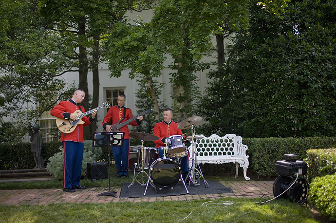 A Marine band plays as President Bush welcomes the WNBA Champion Phoenix Mercury to the East Garden at the White House in Washington.