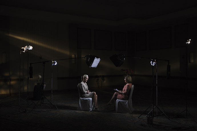 Cindy McCain takes questions during a local TV interview in Miami, Florida.