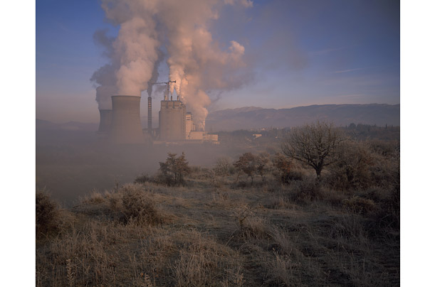 The thermo-electric power station is fueled by lignite (brown coal) produced in the vast open-cast mine of Megalopolis, Greece