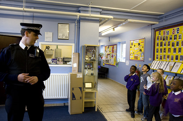 Kids at a junior school in Hackney ask Police Sergeant Andy Port about his job