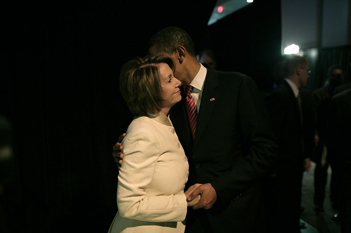 Barack Obama greets Speaker of the House Nancy Pelosi backstage at the AIPAC summit in Washington, D.C.