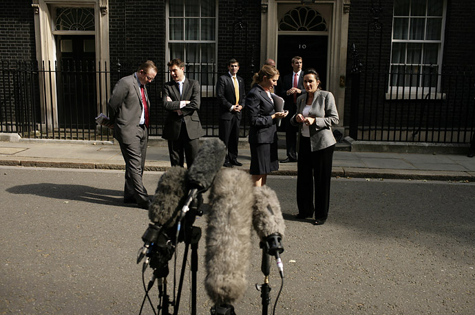 Microphones wait for Barack Obama to speak outside 10 Downing Street in London after a meeting with Prime Minister Gordon Brown.