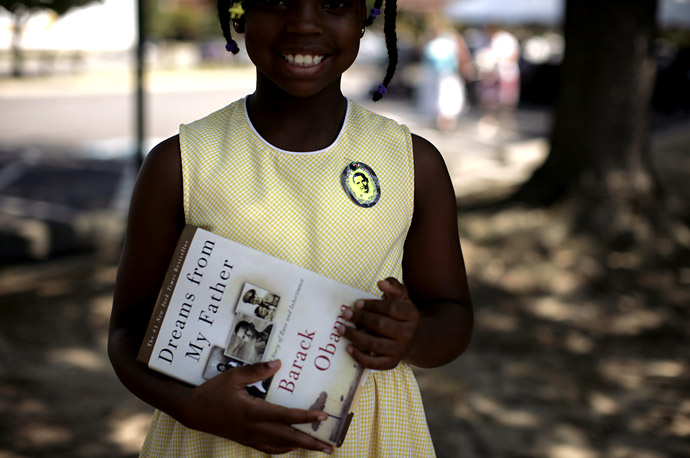 A young supporter after a town hall meeting for Barack Obama at John Tyler Community College in Chester, VA.