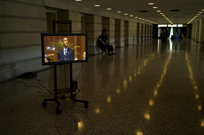 A monitor set out for press displays Senator Barack Obama speaking at the memorial service for Congresswoman Stephanie Tubbs Jones at the Convention Center in Cleveland, Ohio.