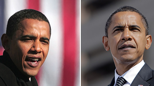 Left to Right: Barack Obama announces his run for the presidency in February of 2007 ;  Barack Obama at a campaign rally this week..
