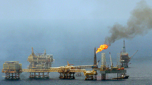 A PEMEX (Petroleos Mexicanos) oil rig of the coast of Campeche, Mexico.