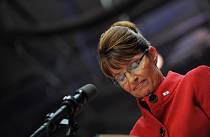 Republican vice-presidential nominee Sarah Palin at a rally in Columbus, Ohio, on Sept. 29