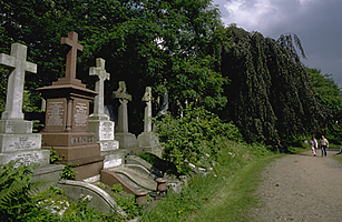Highgate Cemetery in London.