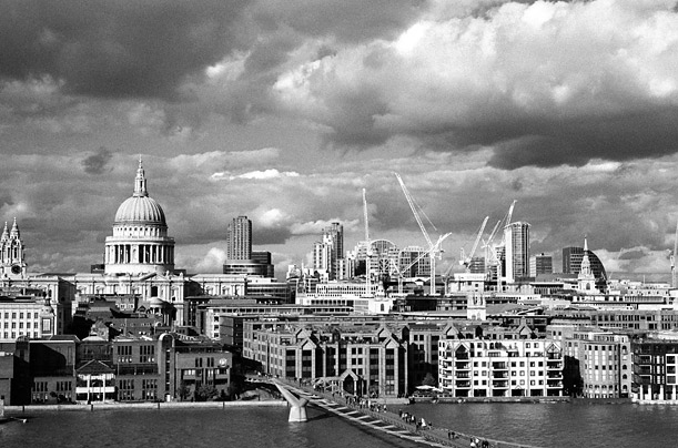 London's financial center sits uneasily below heavy skies