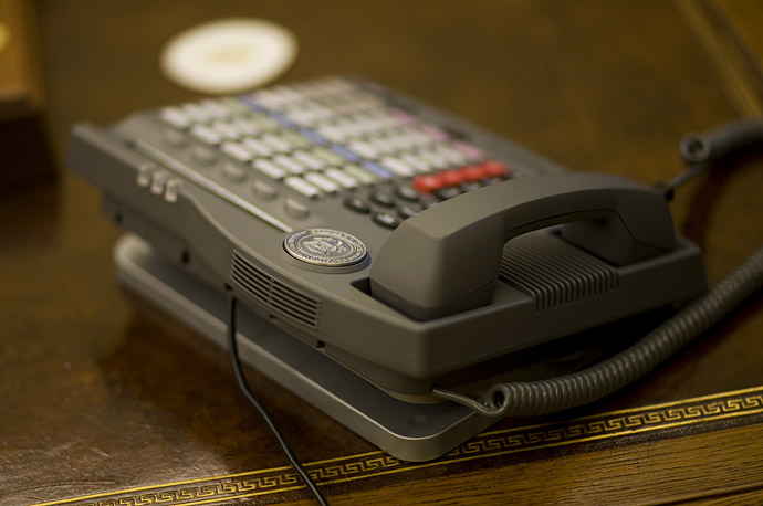 The telephone on President Bush's desk in the Oval Office at the White House.