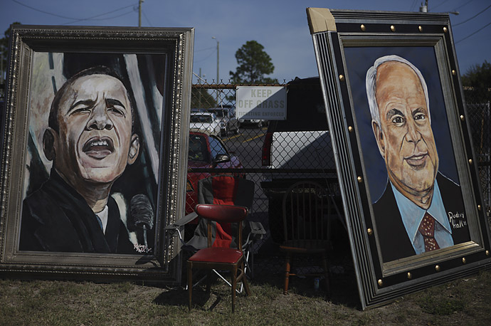 Portraits of the two presidential candidates are lined up outside Schwartz Center on the campus of Cape Fear Community College in Wilmington, North Carolina, October 13, 2008.