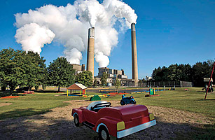 Activists don?t want more coal plants, like this one near a Pennsylvania playground.