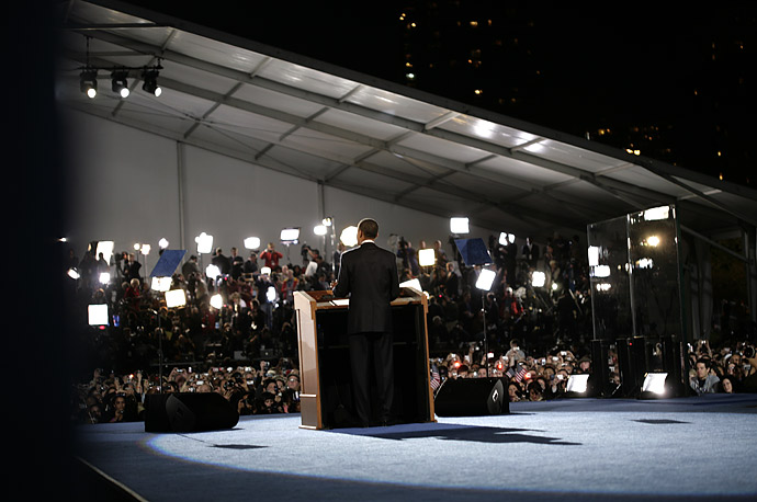 Barack Obama gives his acceptance speech at Grant Park in Chicago, Illinois.