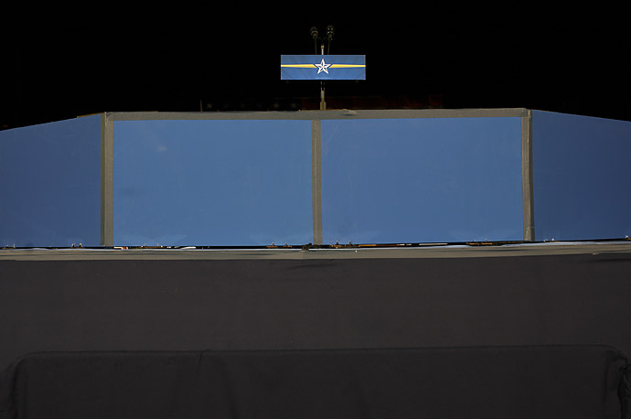 The empty stage after John McCain's election night rally at the Biltmore Hotel in Phoenix, Arizona.