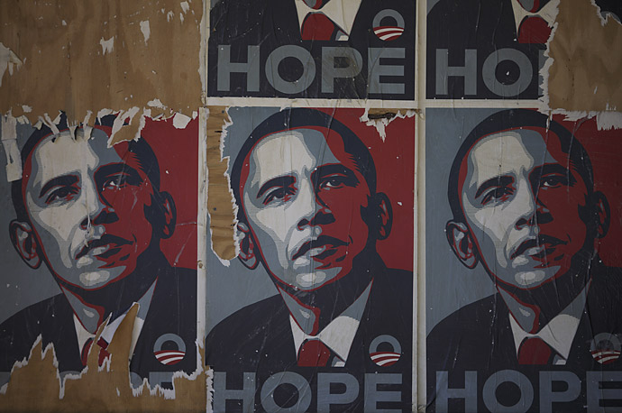 Obama posters remain on a a wall in Washington, D.C.