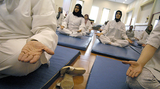 Iranian women practice yoga in Tehran