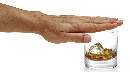 Man Covering Whiskey Glass With Hand  alcoholic alcoholism drugs