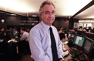 Bernard Madoff, founder of Bernard L. Madoff Investment Securities, on his trading floor in New York in 1999
