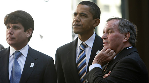 (l. to r.) Illinois Gov. Rod Blagojevich, Barack Obama, and Richard M. Daley.