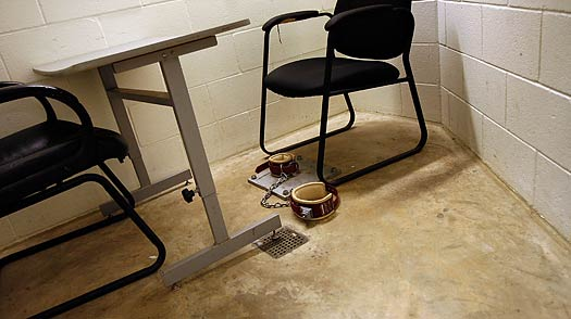 Ankle cuffs are used to restrain prisoners at the detention facility at the U.S. Naval Station in Guantanamo Bay, Cuba.