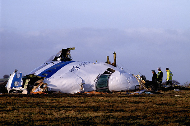 The wreckage of the Boeing 747-121 landed in a field outside the Scottish town