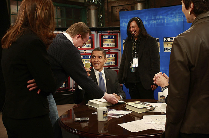 President-elect Barack Obama before a taping of
