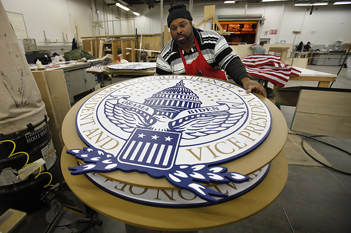 Inaugural seals are prepared for President-elect Barack Obama's inauguration on January 20.