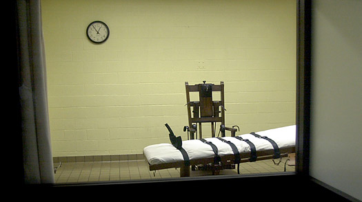 A view of the death chamber from the witness room at the Southern Ohio Correctional Facility
