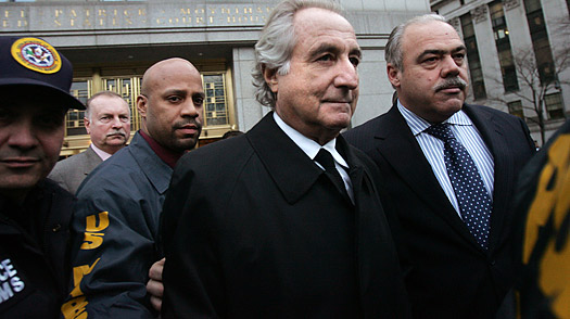 Bernard Madoff walks out of Federal Court after a bail hearing in Manhattan