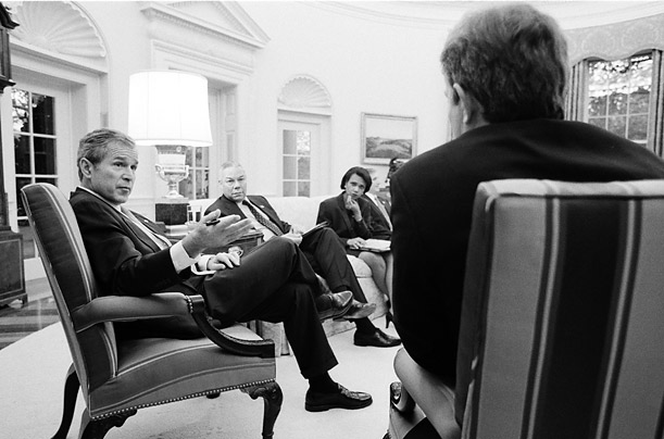 The President, Colin Powell and Condoleezza Rice discuss the situation in Afghanistan with their British ally in November 2001