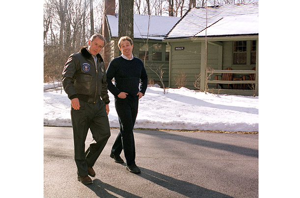 President and Prime Minister are in step at their first Camp David summit in 2001
