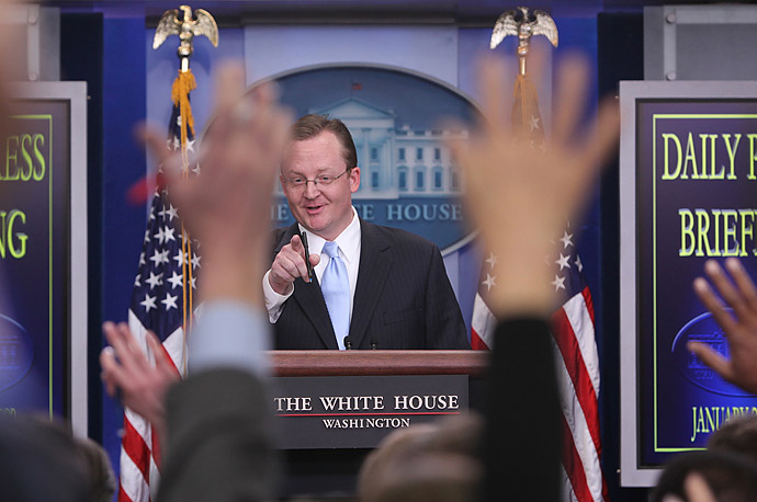 The new White House Press Secretary Robert Gibbs holds his first press briefing in the White House.