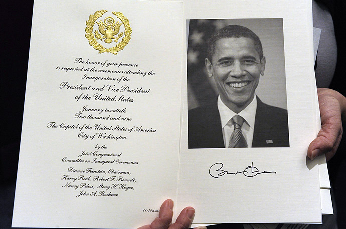 An invitation for the Inauguration of Barack Obama is shown on Capitol Hill in Washington.