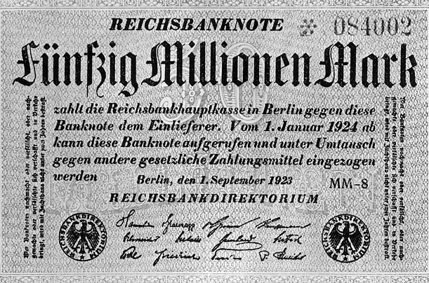 A 50 million mark bill from 1923