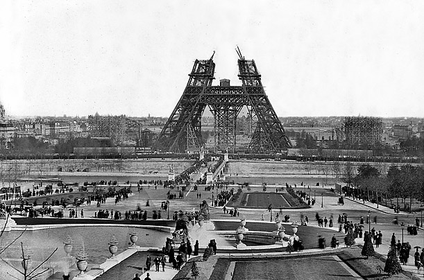 Progress on the tower in February 1888 as viewed from The Trocadero