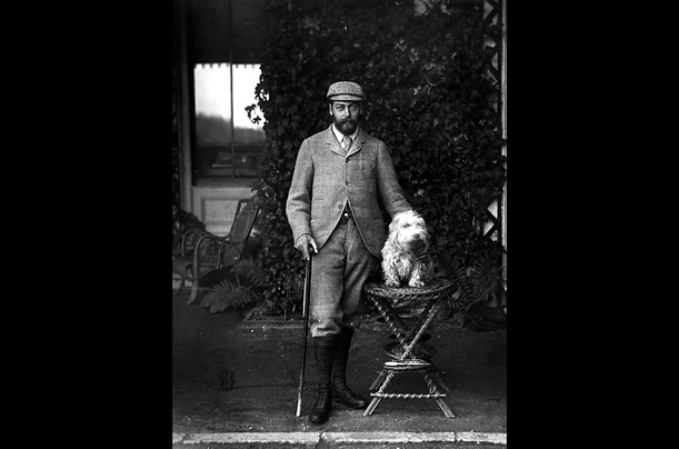 George V with his pet dog, taken in 1893