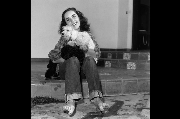 British-born actor Elizabeth Taylor, wearing a plaid shirt and jeans rolled up at the cuff with bare feet, holding a dog and smiling
