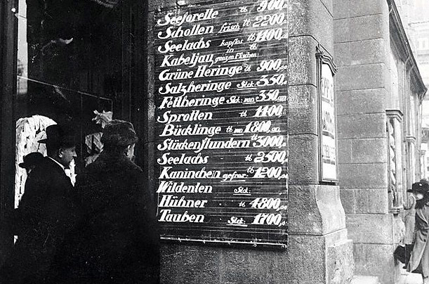 At this Berlin food store in 1923, meat and fish fetched exorbitant prices