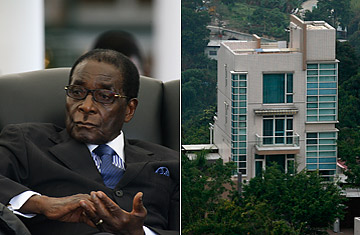 Zimbabwean President Robert Mugabe and the three-story villa inside Hong Kong's JC Castle that he reportedly bought