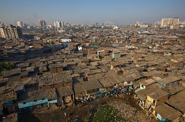 The rooftops in Dharavi slum