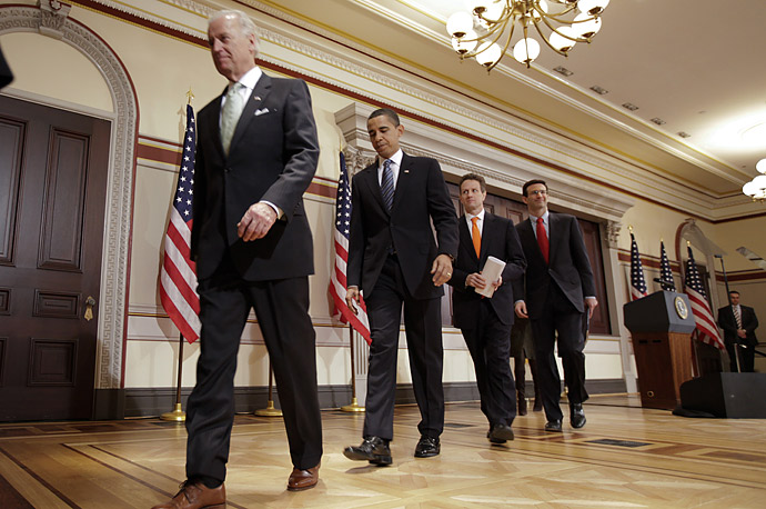 president barack Obama is joined by Vice President Joe Biden Treasury Secretary Timothy Geithner and Office of Management and Budget (OMB) Director Peter Orszag fiscal year 2010 budget