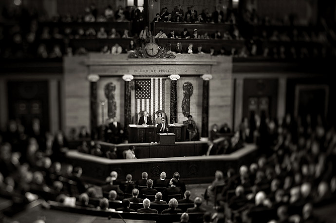 President Barack Obama addresses his first joint session of Congress, Feb. 24, 2009.