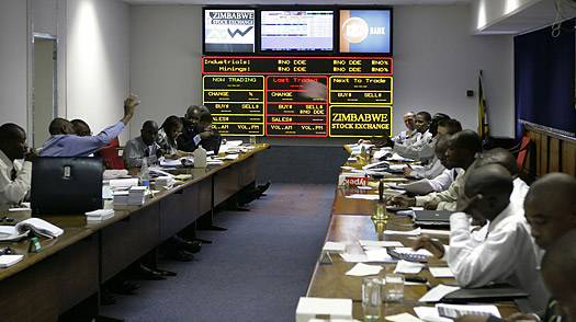 Traders at the Zimbabwe Stock Exchange in Harare.